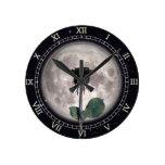 Reloj Redondo Mediano Gótico, Vintage, victoriano, Rosa negro, oscuro