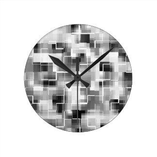 Reloj Redondo Mediano Gris blanco negro abstracto