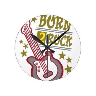 Reloj Redondo Mediano Guitarra nacida de la roca, diseño del guitarrista
