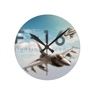 Reloj Redondo Mediano Halcón que lucha F-16
