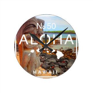 Reloj Redondo Mediano Hawaiana ningunos 50 Tiki