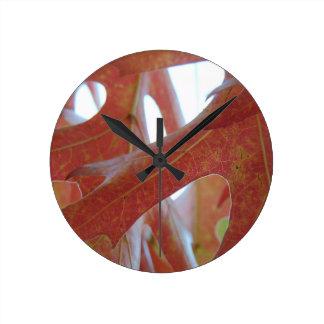 Reloj Redondo Mediano Hojas del roble del otoño