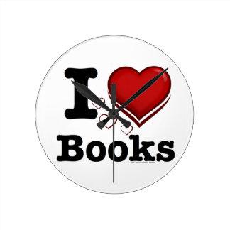 Reloj Redondo Mediano ¡I libros del corazón! ¡Amo los libros! (Corazón