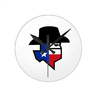 Reloj Redondo Mediano Icono de la bandera de Tejas del bandido
