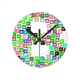 Reloj Redondo Mediano Iconos del comercio de Bitcoin