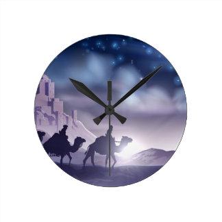 Reloj Redondo Mediano Ilustracion de tres de los hombres sabios navidad