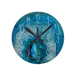 Reloj Redondo Mediano Imagen mineral del cristal de la ágata de la roca
