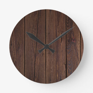 Reloj Redondo Mediano Imitación oscura de la madera dura