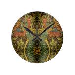 Reloj Redondo Mediano Jacquard victoriano con flores de pavo real