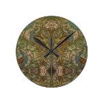 Reloj Redondo Mediano Jaquín de pavo real y flor