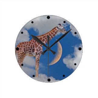 Reloj Redondo Mediano Jirafa soñadora