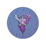 Reloj Redondo Mediano Joya de la flor del rosa del bígaro del nouveau