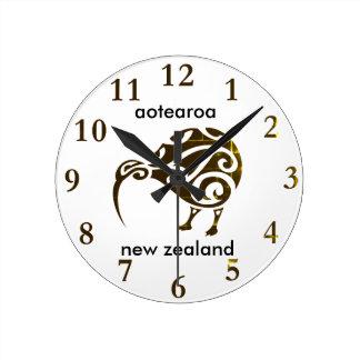 Reloj Redondo Mediano kiwi de Nueva Zelanda del aotearoa