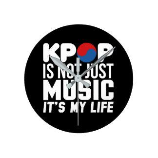 Reloj Redondo Mediano Kpop es mis gráficos del lema de la vida (oscuros)