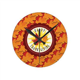 Reloj Redondo Mediano La caída colorea acción de gracias feliz