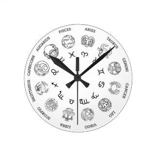 Reloj Redondo Mediano La estrella astrológica del zodiaco del horóscopo