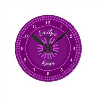 Reloj Redondo Mediano La guinga de la uva comprueba con monograma