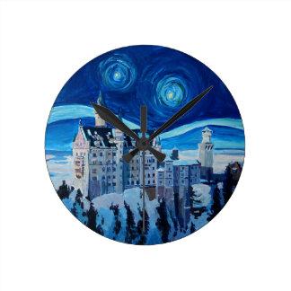 Reloj Redondo Mediano La noche estrellada con el castillo romántico Van