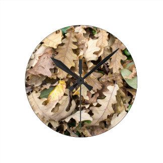 Reloj Redondo Mediano La opinión superior el roble caido deja el primer