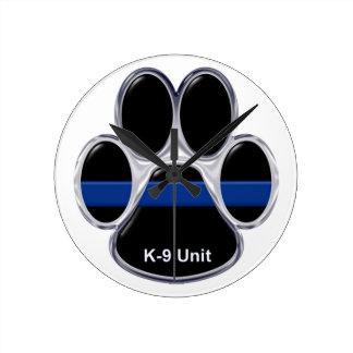 Reloj Redondo Mediano La unidad K-9 enrarece Blue Line