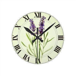 Reloj Redondo Mediano Lavanda Clockface botánico verde