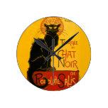 Reloj Redondo Mediano Le Chat Noir El Negro Gato Art Nouveau Vintage