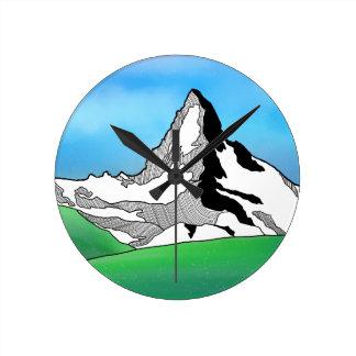 Reloj Redondo Mediano Línea acuarela de Cervino Suiza del arte