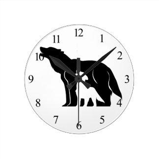 Reloj Redondo Mediano Lobos blancos y negros