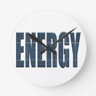 Reloj Redondo Mediano Los paneles solares de la energía