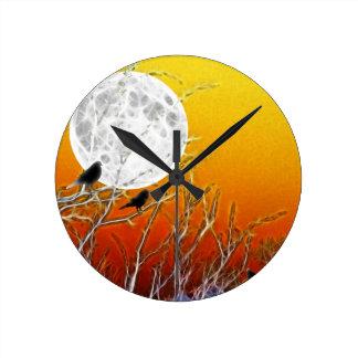 Reloj Redondo Mediano Luna del otoño