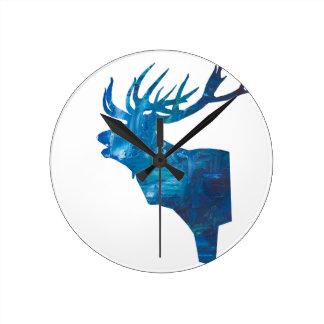 Reloj Redondo Mediano macho principal de los ciervos en azul