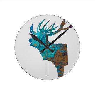 Reloj Redondo Mediano macho principal de los ciervos en turquois