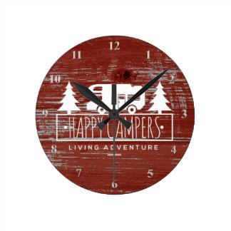 Reloj Redondo Mediano Madera rústica roja del granero de los campistas