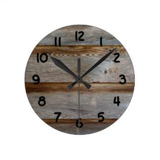 Reloj Redondo Mediano Madera vieja de la puerta de granero