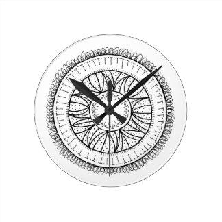 Reloj Redondo Mediano mandala de la flor del diente de león
