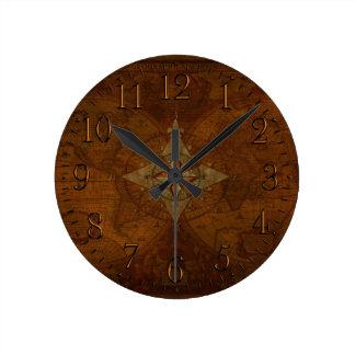 Reloj Redondo Mediano Mapa antiguo del rosa y de Viejo Mundo del compás