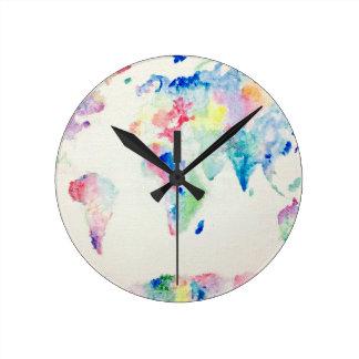 Reloj Redondo Mediano mapa del mundo del color de agua