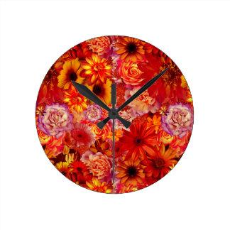 Reloj Redondo Mediano Margaritas candentes ricas del ramo brillante
