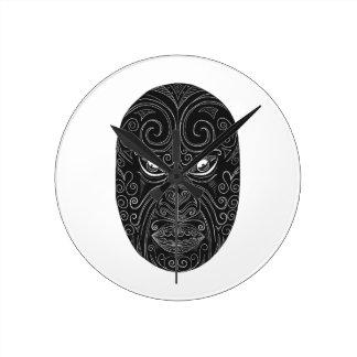 Reloj Redondo Mediano Máscara maorí Scratchboard
