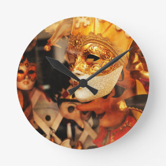 Reloj Redondo Mediano Máscaras venecianas