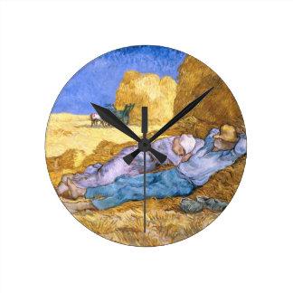 Reloj Redondo Mediano Mediodía de Vincent van Gogh el |, la siesta,
