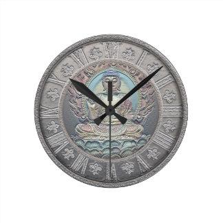 Reloj Redondo Mediano Mirada de la plata del vintage de Buda