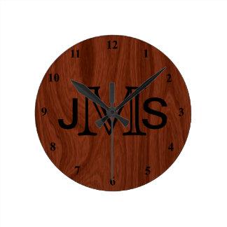 Reloj Redondo Mediano Mirada de madera de caoba personalizada elegante
