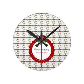 Reloj Redondo Mediano Modelo de la guirnalda del navidad con