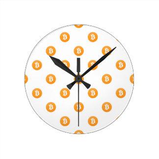Reloj Redondo Mediano Modelo del logotipo de Bitcoin