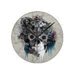 Reloj Redondo Mediano Mudo, damasco del cráneo del girasol
