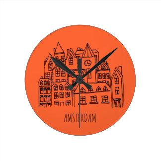 Reloj Redondo Mediano Naranja holandés del recuerdo de la ciudad de