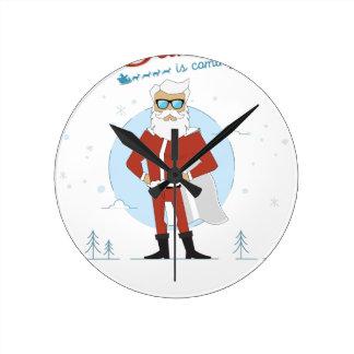Reloj Redondo Mediano navidad de Papá Noel