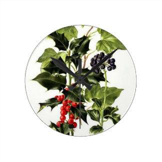 Reloj Redondo Mediano navidad del diseño del acebo y de la hiedra