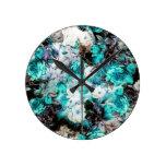 Reloj Redondo Mediano Negro blanco verde azulado de la turquesa floral